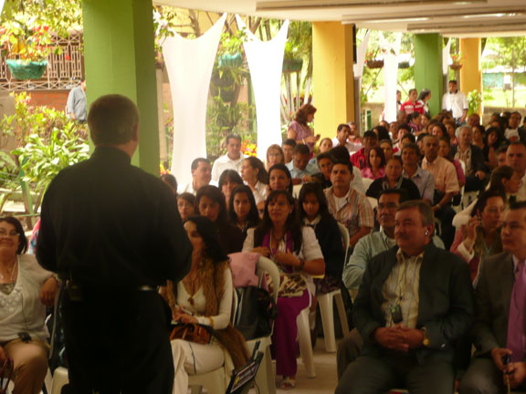 Bill Belsey speaking at a conference in Colombia.